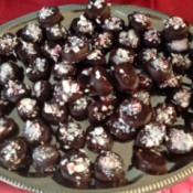 Plate of peppermint candies.