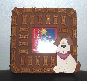 Photo frame decorated with dog treats.