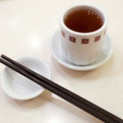 A cup of tea at a Chinese restaurant.