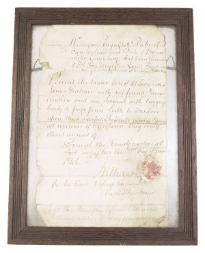 framed antique document