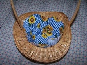 Placing fabric into basket.