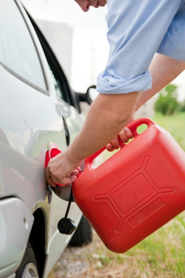 Pouring Gasoline from Gas Can
