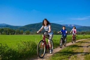 Teens Biking with Mom