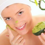 Woman Applying Avocado Beauty Mask