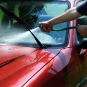 Washing a Car Windshield