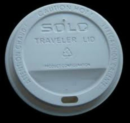 White plastic coffee lid.