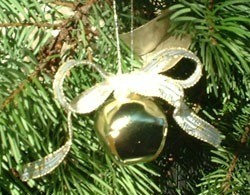 Closeup of ornament on tree.