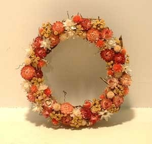 Summer colors dried flower wreath.