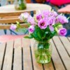 Floral Arrangements on Wood Tables