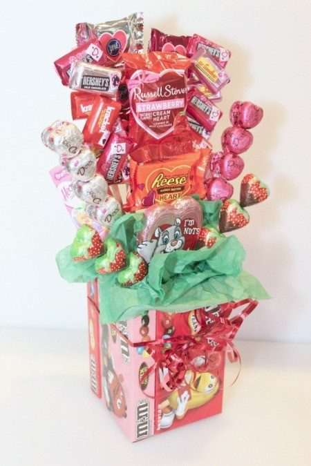 How To Make Chocolate Flower Basket : Making a valentine s day candy bouquet thriftyfun