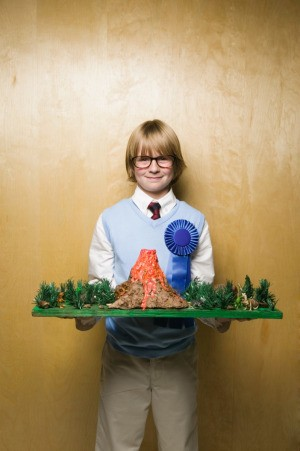 Child with Winning Volcano Science Experiment