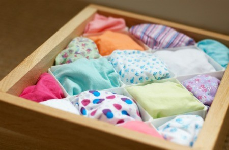 An organized underwear drawer.