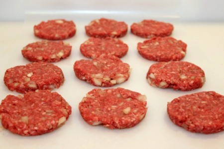 Making Slider Patties - patties on wax paper