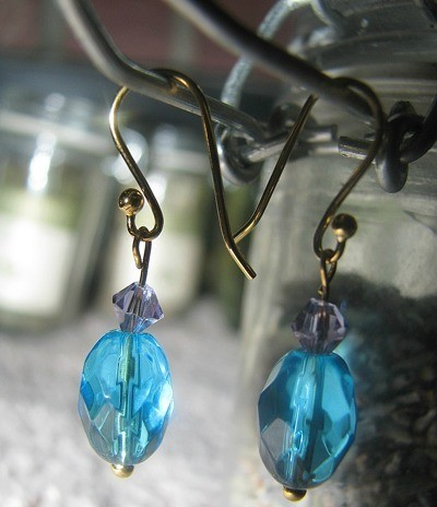 Blue drop earrings.