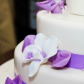 A wedding cake decorated with fondant.