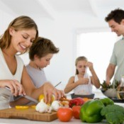 A family cooking a home cooked meal.