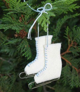 White ice skate ornamant.