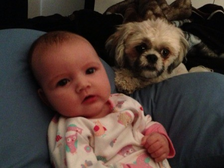 Baby and dog.