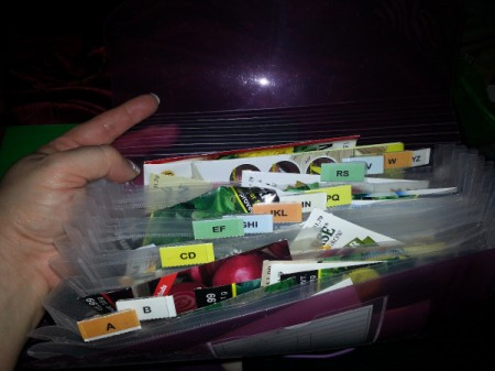 seed packets in organizer