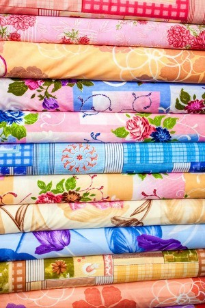 A large stack of fabric.