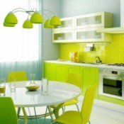 A green themed kitchen.