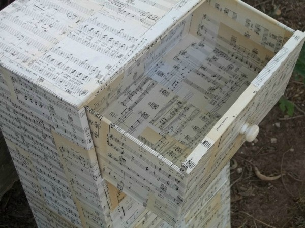Decoupaging Furniture With Sheet Music Thriftyfun