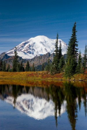 Mount Rainier reflected in a lake.
