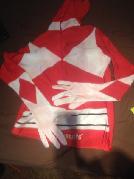 Red and white morph suit.