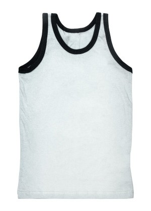 White tank top with black trim.