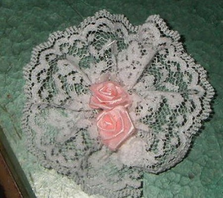 lace and pink ribbon rosettes for handle
