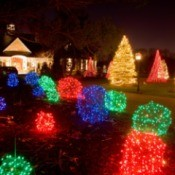 Christmas lights in a front yard.