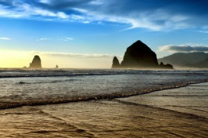 Haystack Rock on the Oregon Coast.