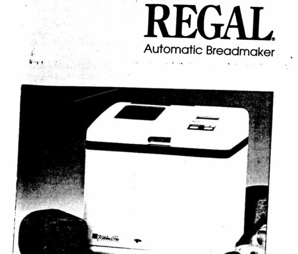 Regal Kitchen Pro Bread Maker Recipe Book