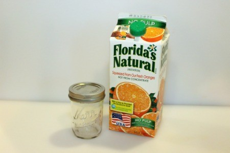 oj carton and mason jar