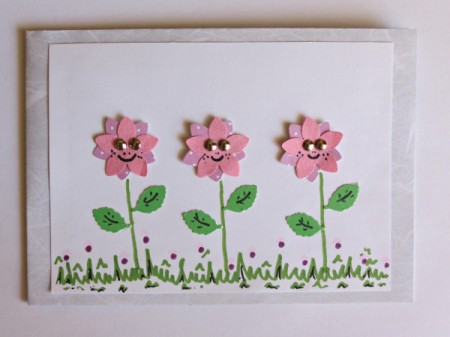 card with flowers, and added grass