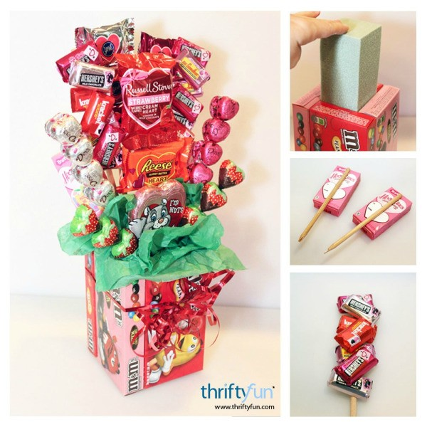 Making a valentine 39 s day candy bouquet thriftyfun for Valentine candy crafts ideas