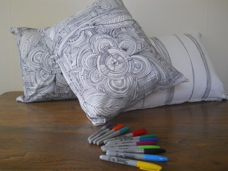pillows and markers