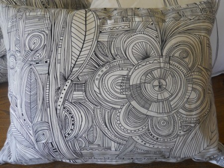 undecorated black and white pillow