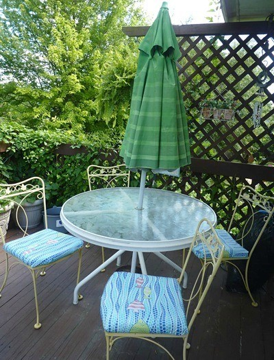 patio table with umbrella down