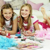 Girls at 'Makeover' Themed Birthday Party