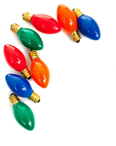 scatter of Christmas light bulbs