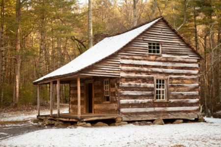 rustic wood cabin