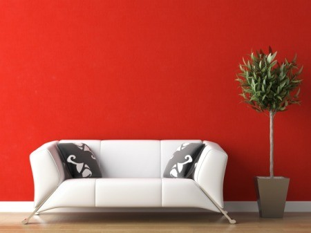 white molding red wall