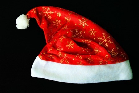 Santa hat with gold thread snowflakes
