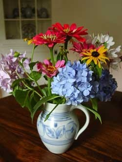 cut flowers in a pitcher