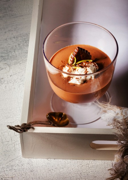 mousse in a glass serving dish