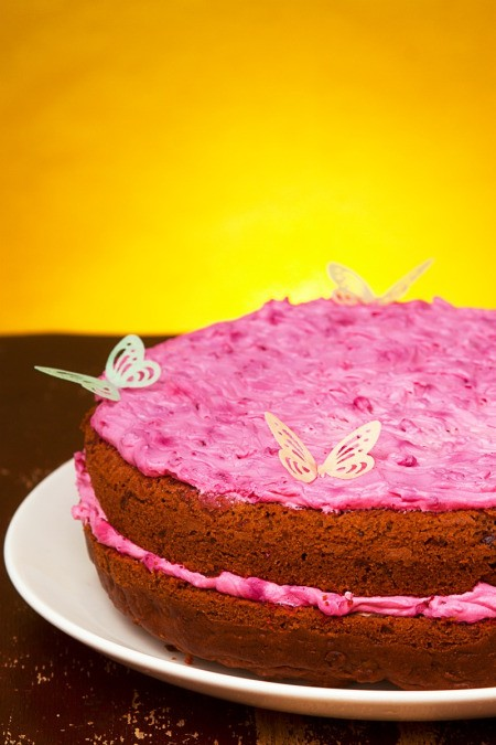 beet root cake with pink frosting