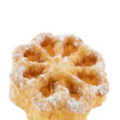 rossette cookie sprinkled with powdered sugar