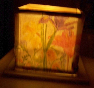 finished luminary with floral paper