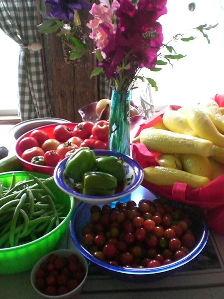 garden produce arrayed on table